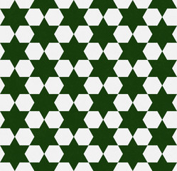 Dark Green and White Hexagon Patterned Textured Fabric Backgroun