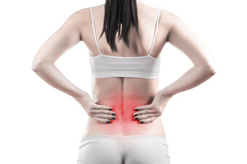 female body with back inflammation. isolated