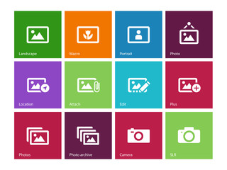 Photographs and Camera icons on color background.