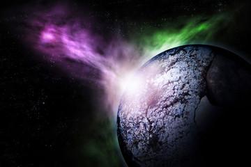 Fictional scene of destruction distant planet