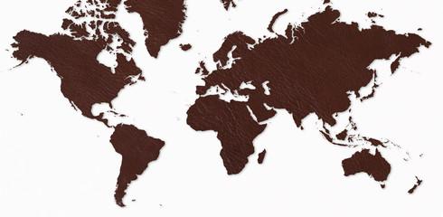 世界地図/革製