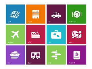 Travel icons on color background.