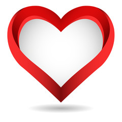 Big red vector heart on white background