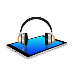 headphones on tablet ,tablet  illustration
