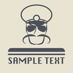 Policeman with a mustache or sign, vector illustration