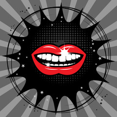 Open red lips abstract, vector illustration