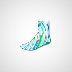 Abstract illustration on sock, template editable.