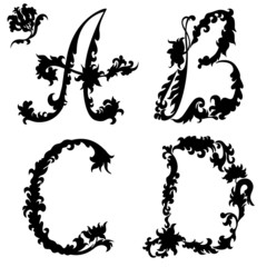 Initial letters silhouette A B C D