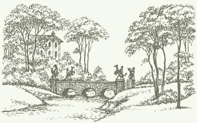Vector landscape. Stone bridge over a rivulet in palace park