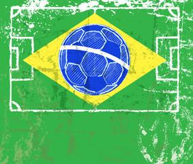 grungy soccer sign, brazilian flag, vector eps 10