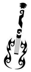 tribal tattoo of a guitar