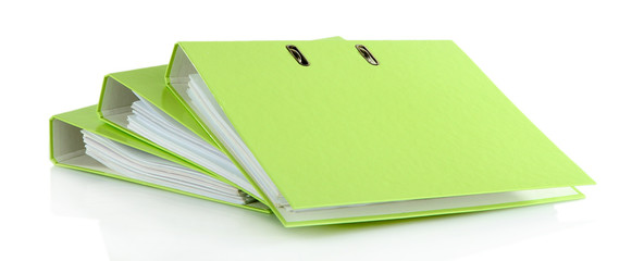 Green folders, isolated on white