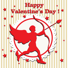 Valentine cupid with bow and arrow