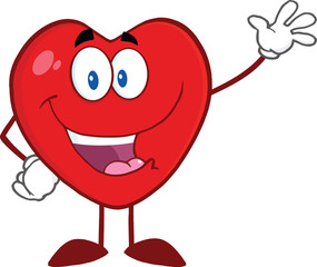 Happy Heart Cartoon Mascot Character Waving For Greeting