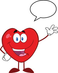 Happy Heart Character Waving For Greeting With Speech Bubble