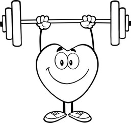 Black And White Smiling Heart Cartoon Character Lifting Weights