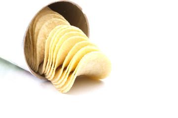 potato crisps (chips) on a white background