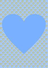Karte Hintergrund hellblau goldene Herzen und ein großes