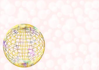Karte bunte Kugel auf rosa Hintergrund mit weißen Kreisen