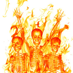 Wall Mural - Fire skeletons