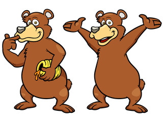 Vector illustration of Cartoon brown bear
