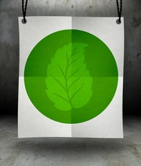 Ecology leaf symbol on paper poster hanging