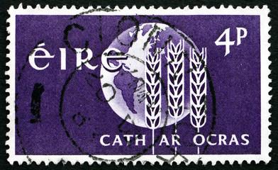 Postage stamp Ireland 1963 Wheat Enblem and Globe