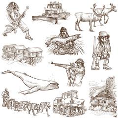 Traveling: SCANDINAVIA set no. 3 - hand drawings on white
