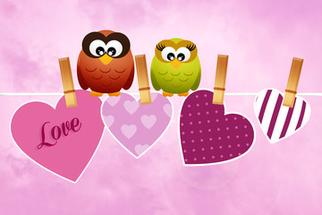 Owls in love for Valentine's Day