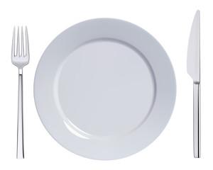 Dinner plate, knife and fork. Vector illustration