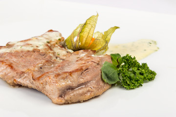 piece of Bavarian roasted pork in beer sauce
