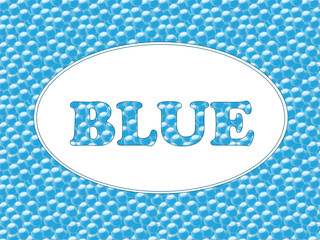 Text on blue background with bubbles