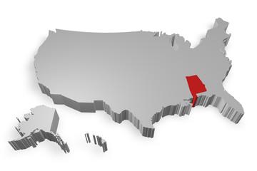 Alabama e cartina degli Stati Uniti in 3d