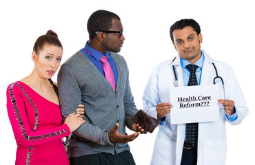 Stressed couple and doctor, healthcare concept