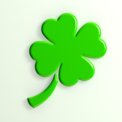 3D clover illustration  with 4 leaves