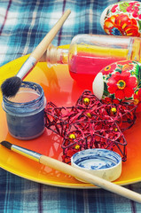 home coloring eggs for Easter holiday