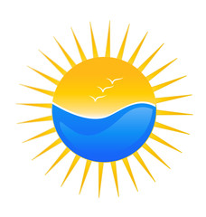 Beach and sun illustration logo vector