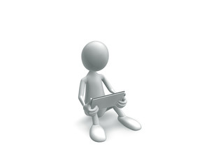 Man sitting with tablet in hands on a white background.