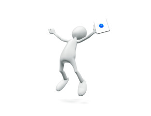 Man jumping with tablet in hand with joy on white background.