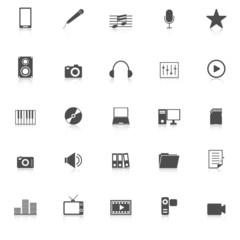 Media icons with reflect on white background