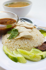 Steam chicken with rice.