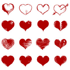 vector set of red sketch hearts