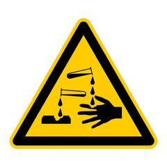 wso8 WarnSchildOrange - english warning sign: danger corrosive materials - German Warnschild: Warnung vor ätzenden Stoffen - g408