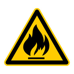 wso9 WarnSchildOrange - english warning sign: warning flammable materials - German Warnschild: Warnung vor feuergefährlichen Stoffen - g409