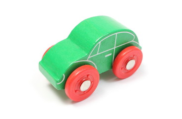 Green toy car isolated on white background