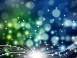 elegant bokeh background with stars and rays, festive fantasy