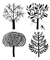 Simple trees collection. Vector illustration