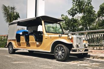 Classic yellow car at roadside