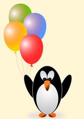 Karte Pinguin mit Luftballons