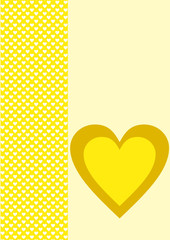 Karte gelb Hintergrund weiße Herzen ein großes gelbes